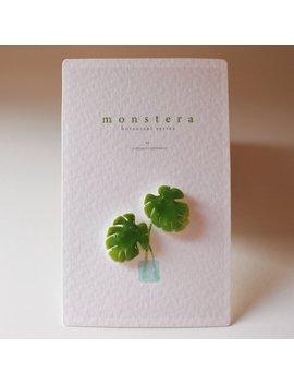 Monstera Leaf Stud Earrings   Botanical Earrings / Botanical Jewelry / Botanical Art / Gift For Her by Etsy
