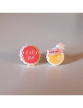 Eat Me Cookie & Drink Me Potion Stud Earrings   Alice In Wonderland / Kawaii Earrings / Alice Earrings / Alice Jewelry by Etsy