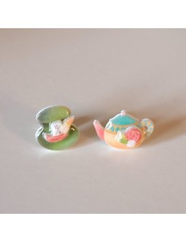Mad Hatter & Tea Party Stud Earrings   Alice In Wonderland / Kawaii Earrings / Alice Earrings / Alice Jewelry by Etsy