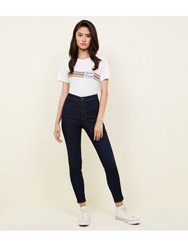 Tall Blue Rinse Wash High Waist Super Skinny Jeans by New Look