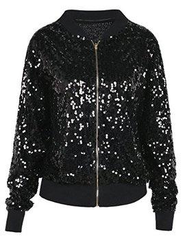 Kayamiya Women Sequin Jacket Long Sleeve Sparkly Zipper Front Blazer Bomber Jacket by Kayamiya