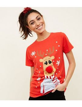 Red Christmas Reindeer Pom Pom T Shirt by New Look