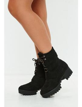 Black Faux Suede Hiking Flat Strap Ankle Boots by Missguided