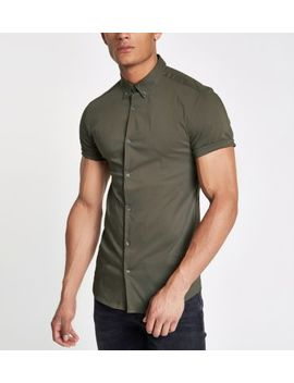 Green Poplin Muscle Fit Short Sleeve Shirt by River Island