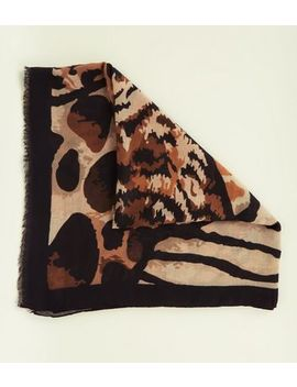 Brown Mixed Animal Print Scarf by New Look