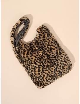 Faux Fur Leopard Tote Bag by Sheinside