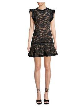 Raffia Flounce Lace Mini Dress by Alexis