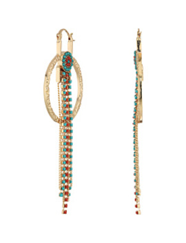 Ring Bead Chain Fringe Dangle Earrings by Steve Madden