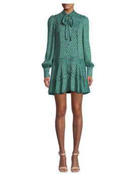 Monika Printed Tie Neck Button Front Shift Dress by Alexis