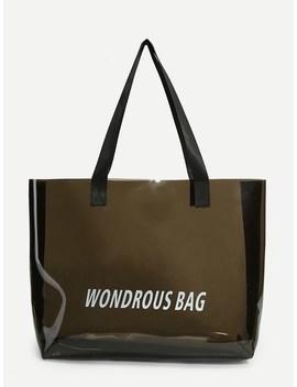 Clear Slogan Print Tote Bag by Sheinside