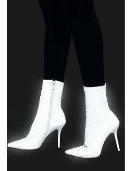 Grey Reflective Pointed Toe Sock Boots by Missguided