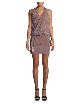 Valere Striped Velvet Draped Front Halter Dress by Misa Los Angeles