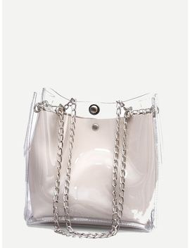 Clear Chain Tote Bag With Inner Pouch by Sheinside
