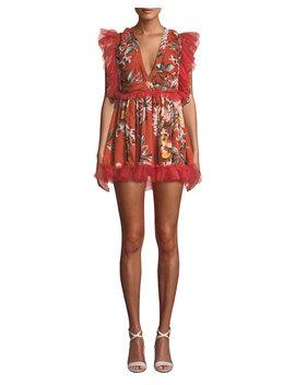 Amelia Shirred Ruffle Floral Mini Dress by Tularosa