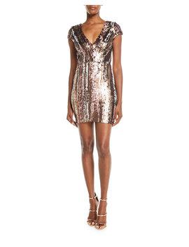 Zoe Brushstroke Sequin V Neck Mini Dress by Dress The Population