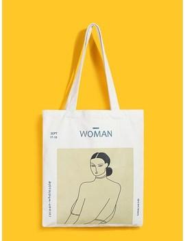 Figure Print Canvas Tote Bag by Sheinside