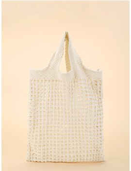 Cut Out Crochet Tote Bag by Sheinside