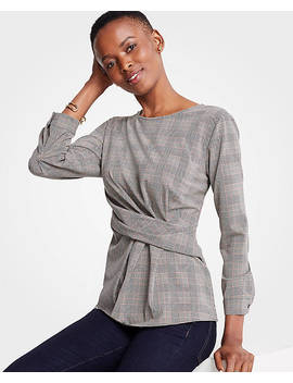 Plaid Side Twist Blouse by Ann Taylor