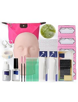 Zinnor Makeup Mannequin Head Set, Professional Eyelash Extensions Practice Set Grafting Eyelash Tools Kit With Mannequin Head And Accessories For... by Zinnor