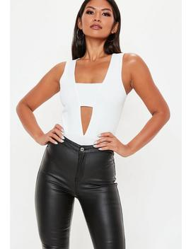 White Crepe Panel Front Bodysuit by Missguided