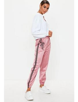 Pink Satin Side Stripe Trousers by Missguided