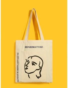 Cartoon Print Canvas Tote Bag by Sheinside