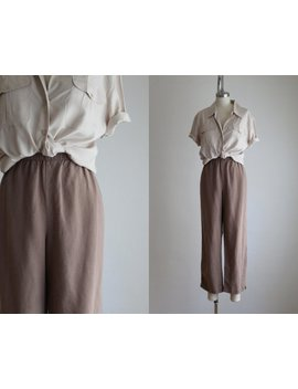 Taupe Linen Trousers by Etsy
