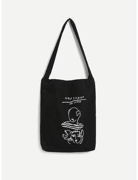 Cartoon Print Canvas Shoulder Bag by Sheinside
