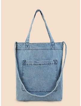 Pocket Front Tote Bag With Strap by Sheinside