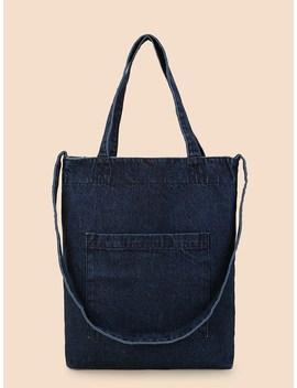 Denim Shoulder Bag With Pocket by Sheinside