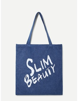 Letter Print Tote Bag by Sheinside