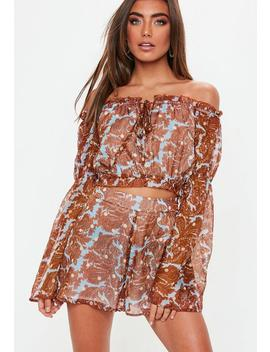 Rust Paisley Bardot Crop Top by Missguided