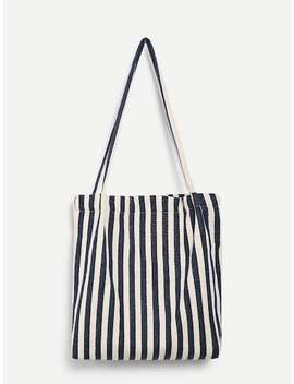 Striped Canvas Tote Bag by Sheinside