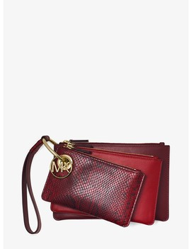 Two Tone Leather Pouch Trio by Michael Michael Kors