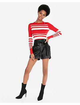 Fitted Stripe Crew Neck Sweater by Express