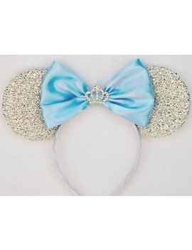 Cinderella Ears Silver Minnie Mouse Ears Headband Crown Tiara Disney Ears Blue Mickey Mouse Ears Princess Ears Cinderella Halloween Costume by Etsy