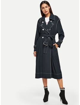 Contrast Stitch Self Belted Coat by Shein