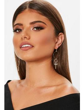 Gold Look Cross Drop Earring by Missguided