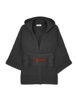 Hooded Belted Ribbed Cashmere Cardigan by Brunello Cucinelli