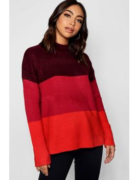 Colour Block Jumper With Funnel Neck by Boohoo