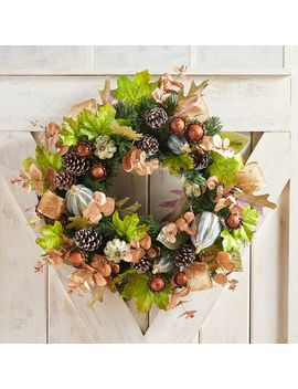 "Faux Copper Leaves & Rhinestone Gourd 23"" Wreath by Gracious Gatherings Collection"