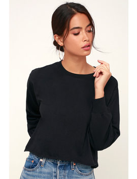 Tatumn Black Long Sleeve Cropped Tee by Z Supply