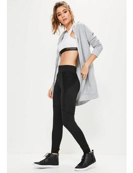 Active Black Fishnet Side Sports Leggings by Missguided