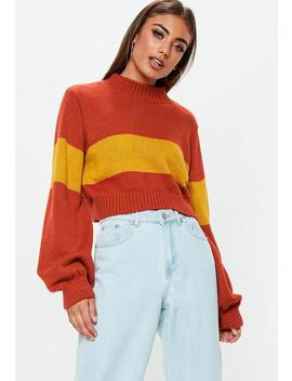 Red Colourblock Striped Brushed Cropped Jumper by Missguided