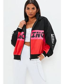 Black Racing Colour Block Windbreaker Jacket by Missguided