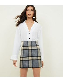 Light Grey Brushed Cream Check Skirt by New Look