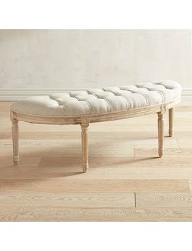 Natural Whitewash Tufted Bench by Eliane Collection