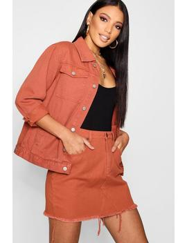 Veste En Denim Brique by Boohoo