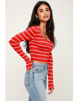 Marin Red And White Striped Long Sleeve Crop Top by Lulus