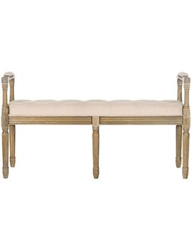 Chelsea Tan Linen Rustic Oak Bench by Pier1 Imports